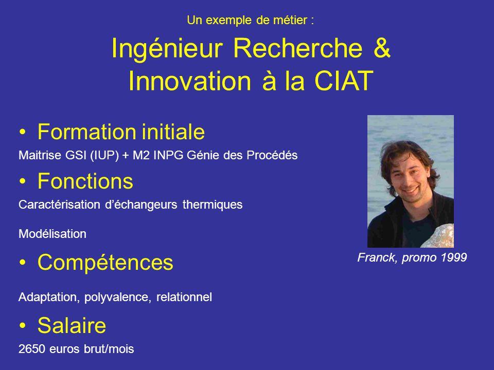 Un exemple de métier : Ingénieur Recherche & Innovation à la CIAT Formation initiale Maitrise GSI (IUP) + M2 INPG Génie des Procédés Fonctions Caractérisation déchangeurs thermiques Modélisation Compétences Adaptation, polyvalence, relationnel Salaire 2650 euros brut/mois Franck, promo 1999