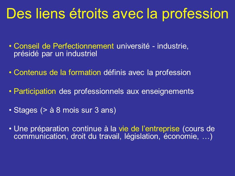 Des liens étroits avec la profession Conseil de Perfectionnement université - industrie, présidé par un industriel Contenus de la formation définis av