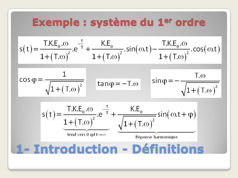 1- Introduction - Définitions Exemple : système du 1 er ordre