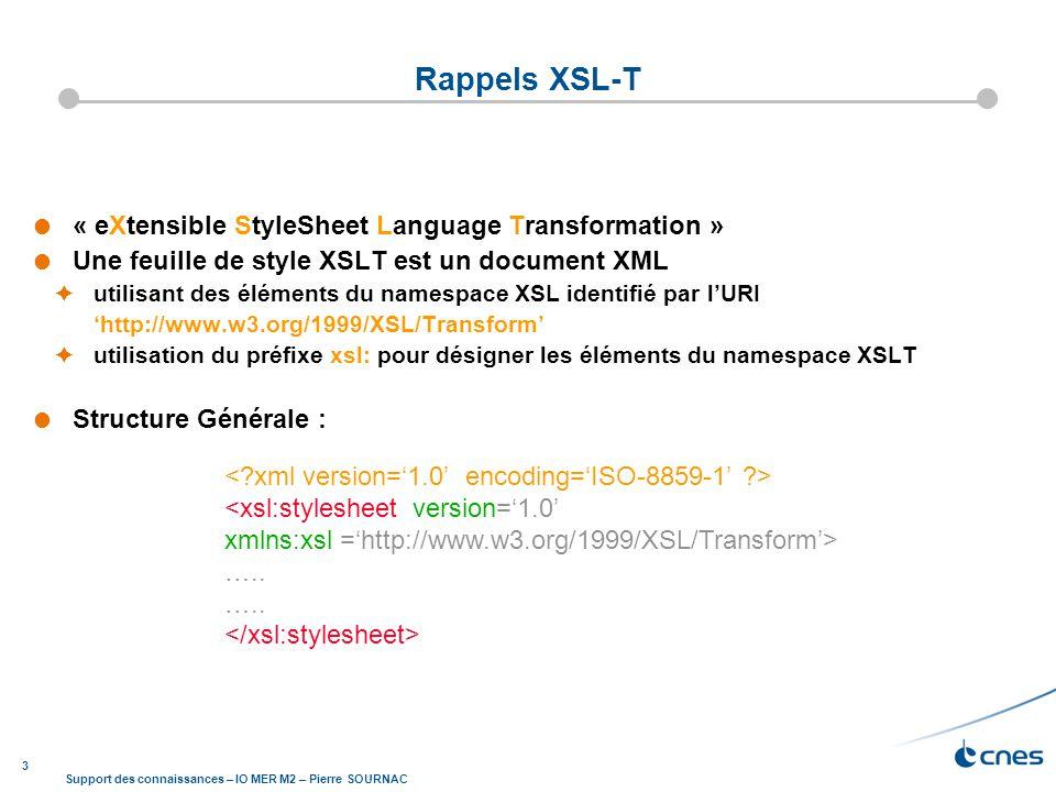 3 Support des connaissances – IO MER M2 – Pierre SOURNAC « eXtensible StyleSheet Language Transformation » Une feuille de style XSLT est un document X