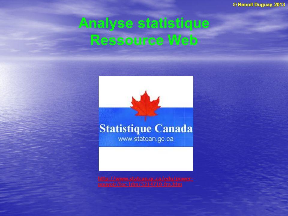 © Benoit Duguay, 2013 Analyse statistique Ressource Web http://www.statcan.gc.ca/edu/power- pouvoir/toc-tdm/5214718-fra.htm