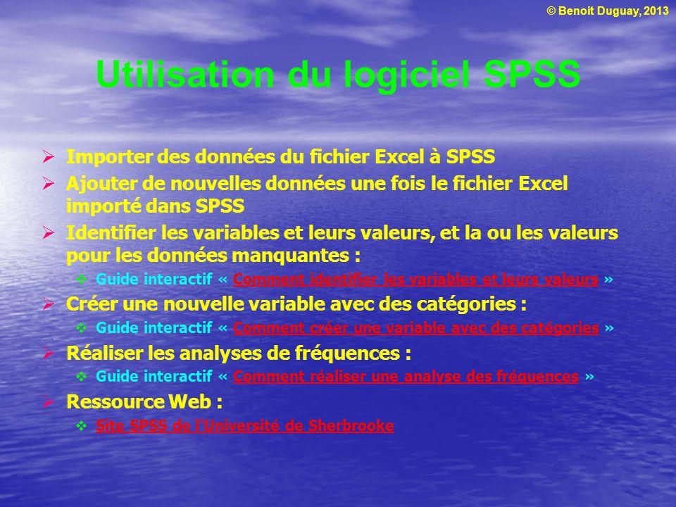 © Benoit Duguay, 2013 Utilisation du logiciel SPSS Importer des données du fichier Excel à SPSS Ajouter de nouvelles données une fois le fichier Excel