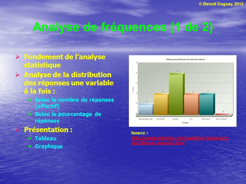 © Benoit Duguay, 2013 Analyse de fréquences (1 de 2) Fondement de lanalyse statistique Analyse de la distribution des réponses une variable à la fois