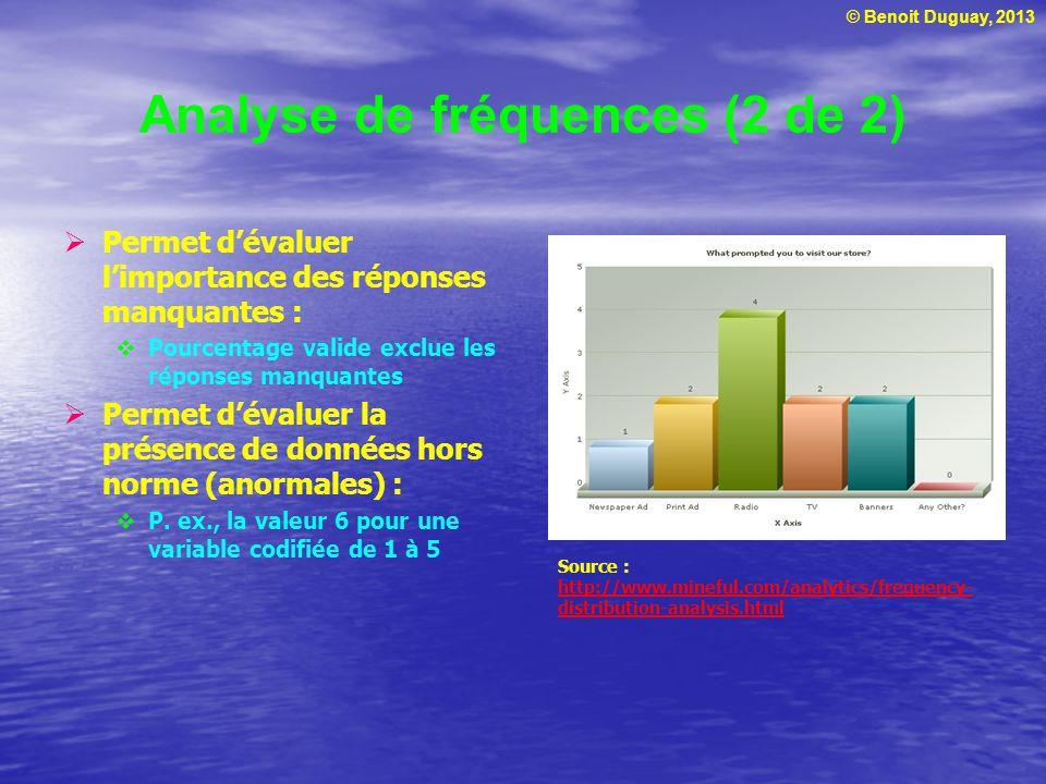 © Benoit Duguay, 2013 Analyse de fréquences (2 de 2) Permet dévaluer limportance des réponses manquantes : Pourcentage valide exclue les réponses manq