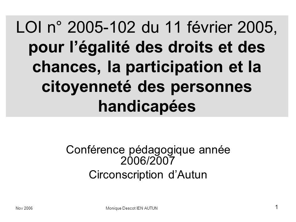 1 LOI n° 2005-102 du 11 février 2005, pour légalité des droits et des chances, la participation et la citoyenneté des personnes handicapées Conférence