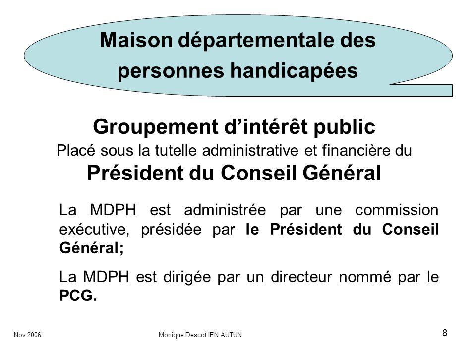 8 Maison départementale des personnes handicapées Groupement dintérêt public Placé sous la tutelle administrative et financière du Président du Consei