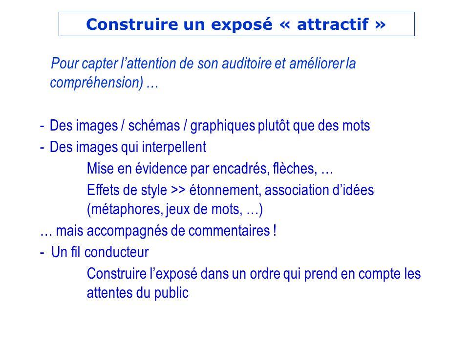 Pour capter lattention de son auditoire et améliorer la compréhension) … -Des images / schémas / graphiques plutôt que des mots -Des images qui interp