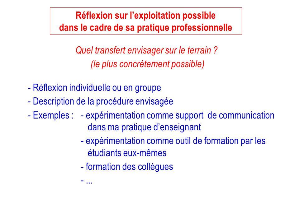 Réflexion sur lexploitation possible dans le cadre de sa pratique professionnelle - Réflexion individuelle ou en groupe - Description de la procédure
