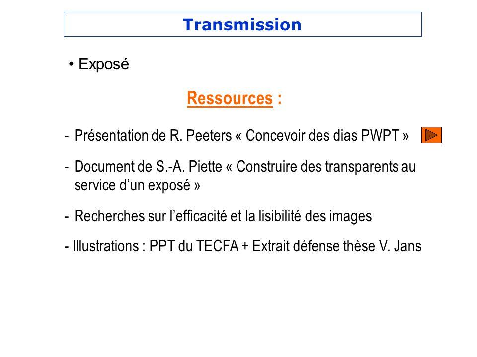 Transmission -Présentation de R. Peeters « Concevoir des dias PWPT » -Document de S.-A. Piette « Construire des transparents au service dun exposé » -