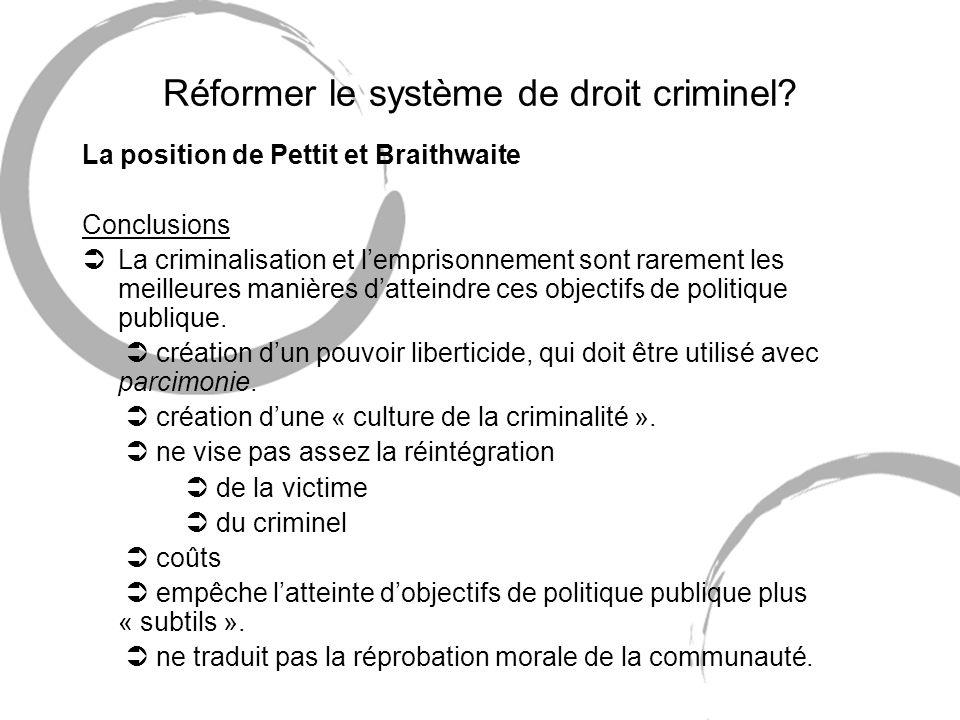 Réformer le système de droit criminel? La position de Pettit et Braithwaite Conclusions ÜLa criminalisation et lemprisonnement sont rarement les meill