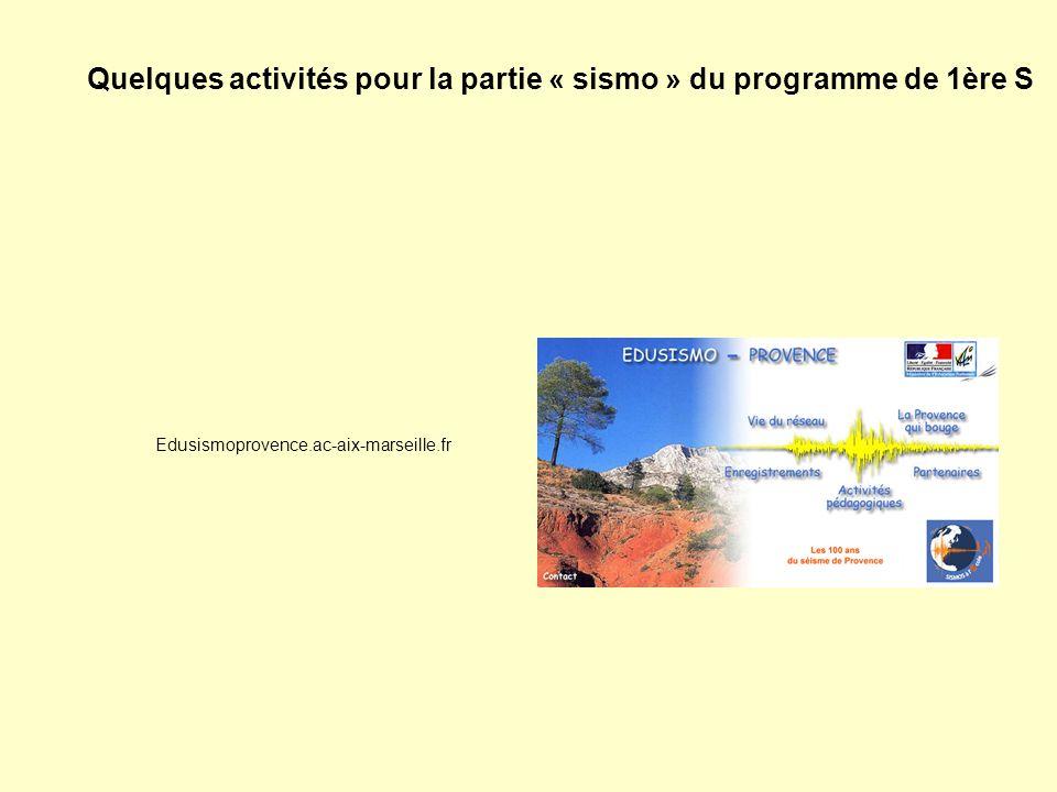 Edusismoprovence.ac-aix-marseille.fr Quelques activités pour la partie « sismo » du programme de 1ère S
