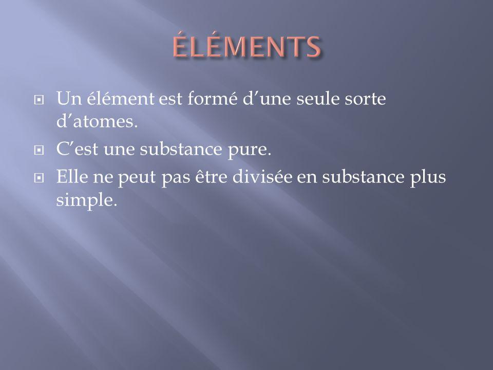 Un élément est formé dune seule sorte datomes. Cest une substance pure. Elle ne peut pas être divisée en substance plus simple.