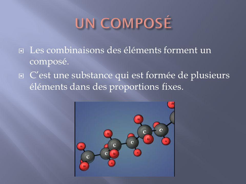 Les combinaisons des éléments forment un composé. Cest une substance qui est formée de plusieurs éléments dans des proportions fixes.