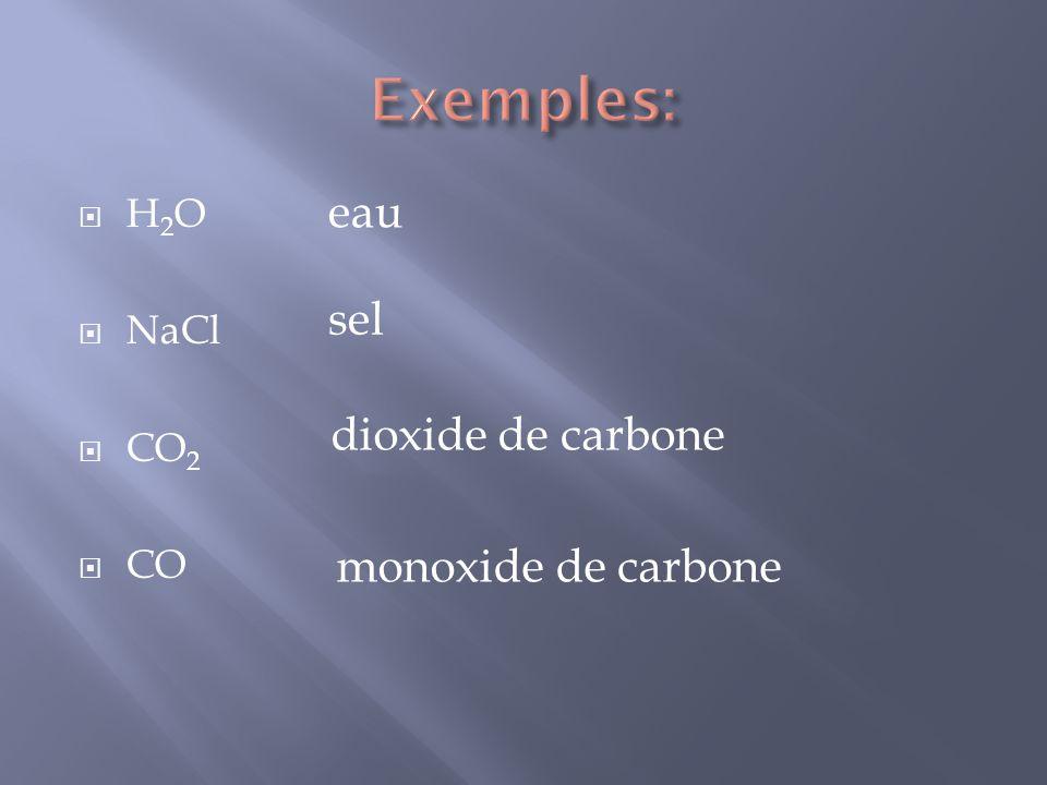 H 2 O NaCl CO 2 CO eau sel dioxide de carbone monoxide de carbone