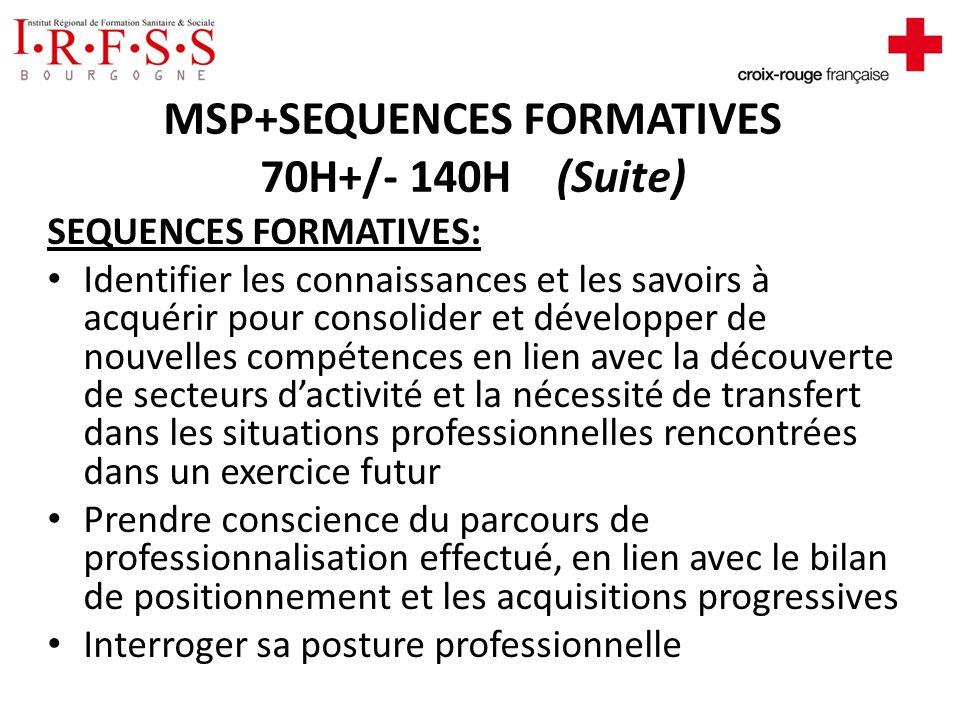 MSP+SEQUENCES FORMATIVES 70H+/- 140H (Suite) -Phases collectives et individuelles de rajustement et dapports théoriques et méthodologiques -Analyse de la pratique -Lecture des dossiers