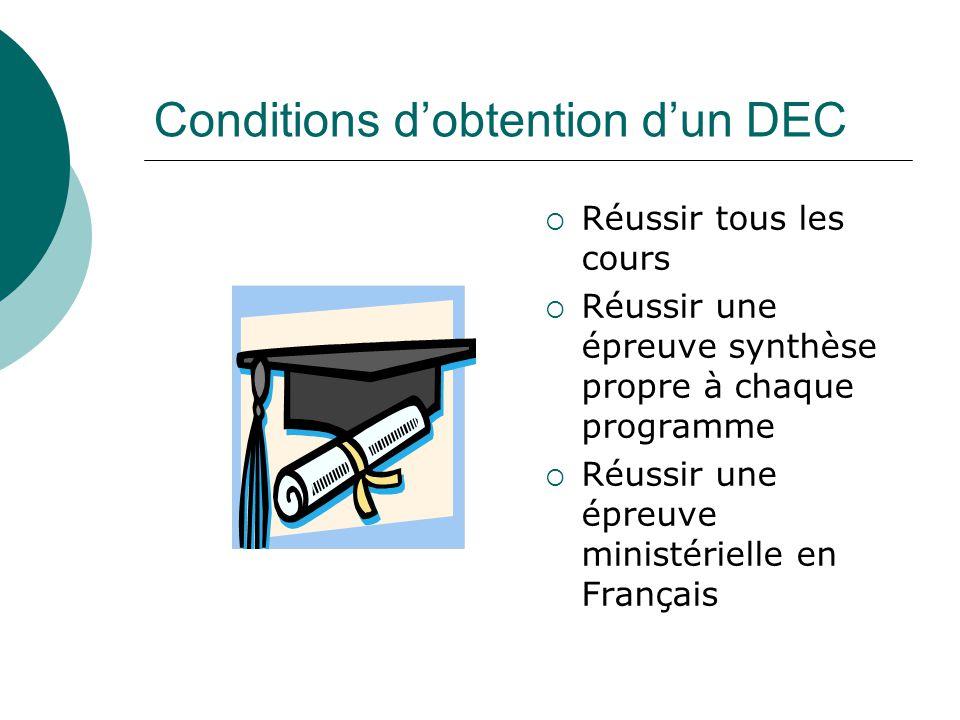 Conditions dobtention dun DEC Réussir tous les cours Réussir une épreuve synthèse propre à chaque programme Réussir une épreuve ministérielle en Français