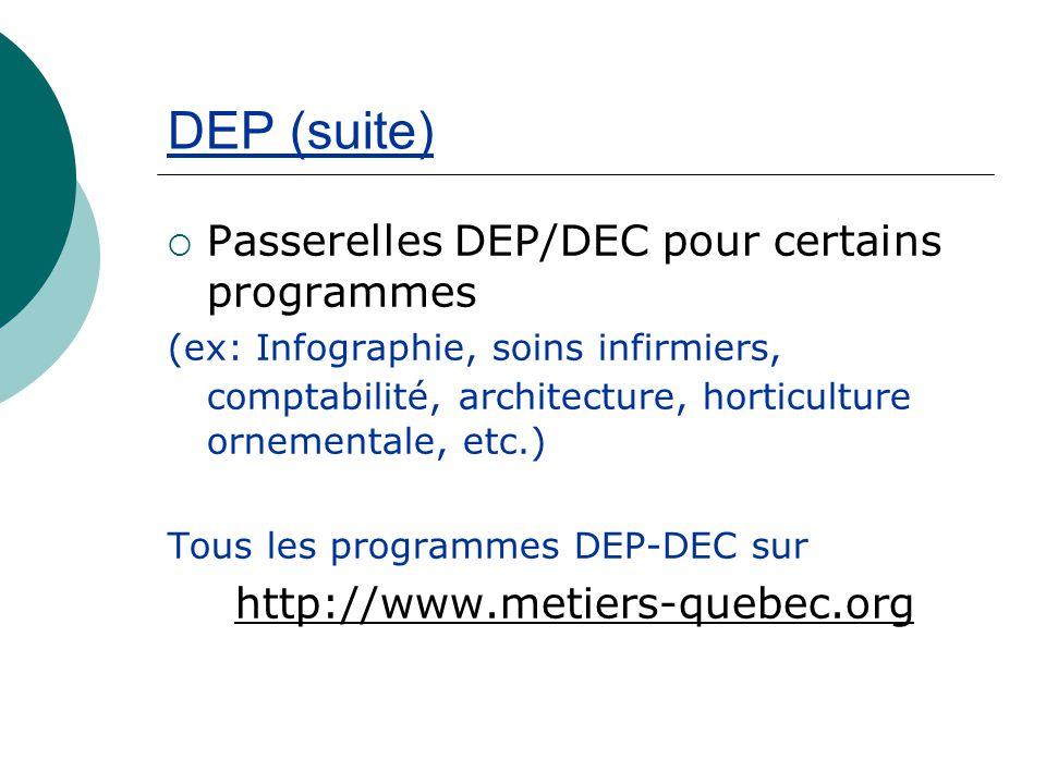 DEP (suite) Passerelles DEP/DEC pour certains programmes (ex: Infographie, soins infirmiers, comptabilité, architecture, horticulture ornementale, etc.) Tous les programmes DEP-DEC sur http://www.metiers-quebec.org