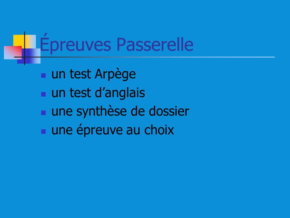 Épreuves Passerelle un test Arpège un test danglais une synthèse de dossier une épreuve au choix
