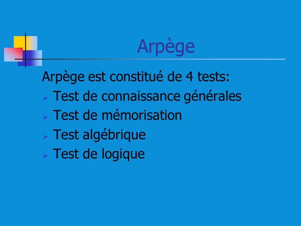 Arpège Arpège est constitué de 4 tests: Test de connaissance générales Test de mémorisation Test algébrique Test de logique