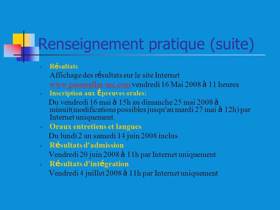 Renseignement pratique (suite) R é sultats Affichage des r é sultats sur le site Internet www.passerelles-esc.comwww.passerelles-esc.com vendredi 16 M