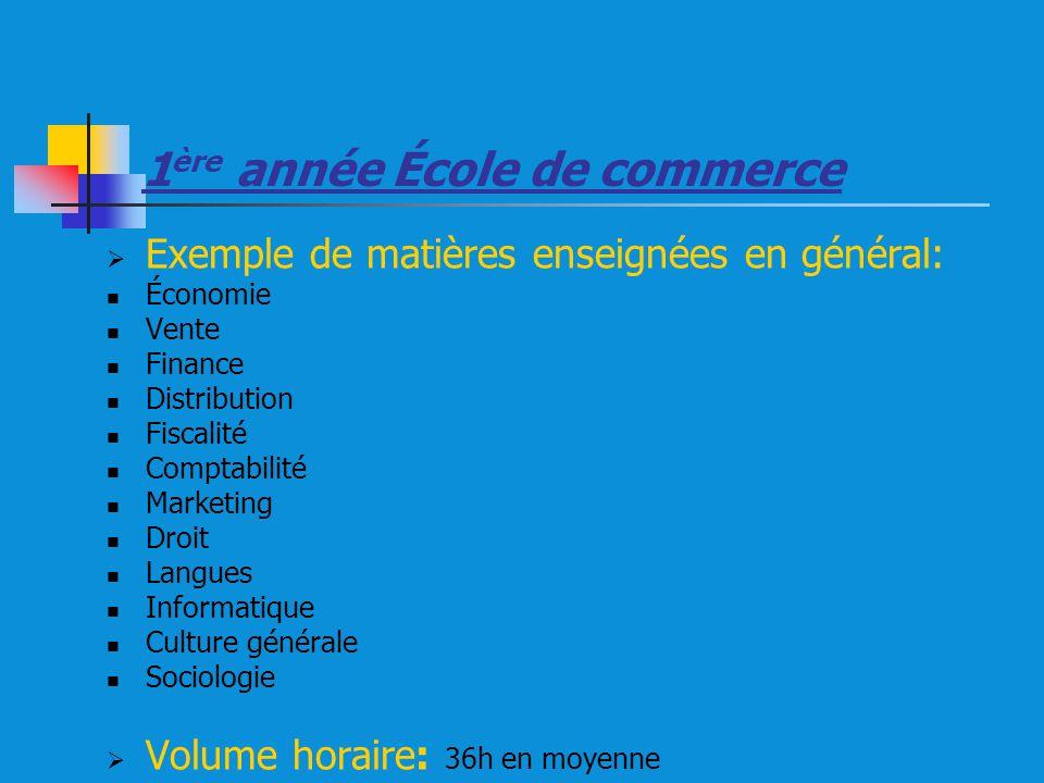 1 ère année École de commerce Exemple de matières enseignées en général: Économie Vente Finance Distribution Fiscalité Comptabilité Marketing Droit La