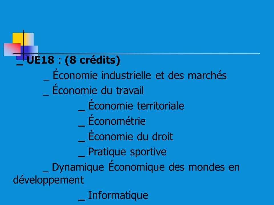 _ UE18 : (8 crédits) _ Économie industrielle et des marchés _ Économie du travail _ Économie territoriale _ Économétrie _ Économie du droit _ Pratique sportive _ Dynamique Économique des mondes en développement _ Informatique