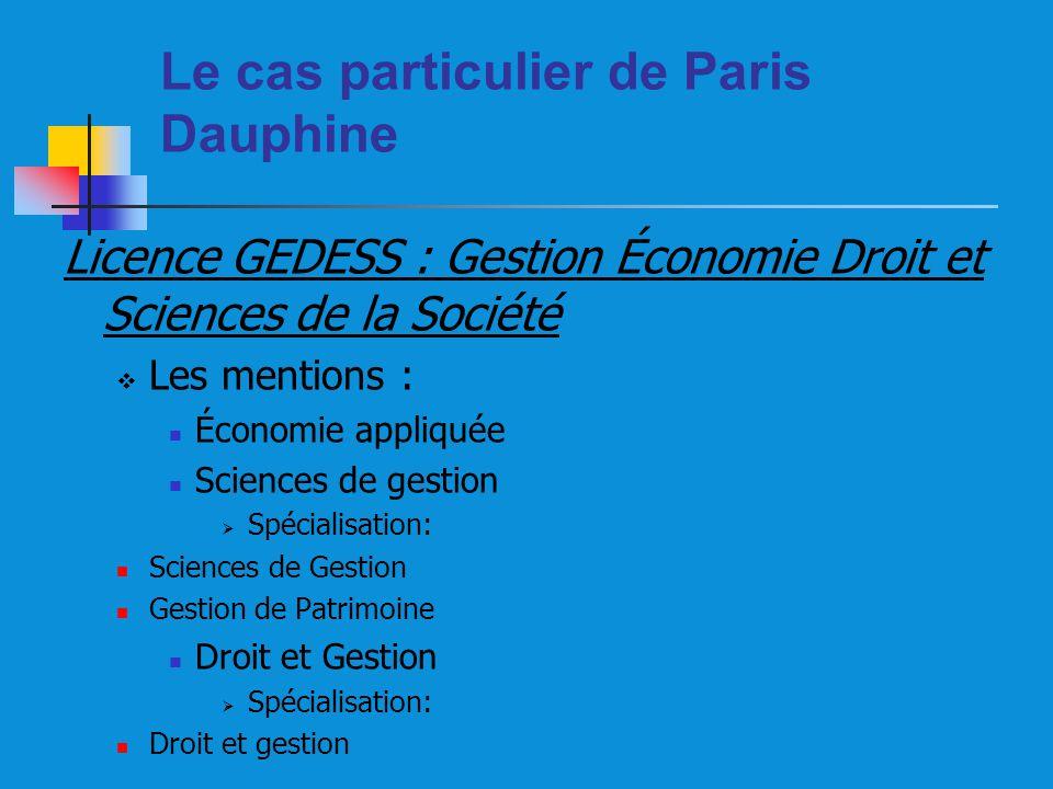 Le cas particulier de Paris Dauphine Licence GEDESS : Gestion Économie Droit et Sciences de la Société Les mentions : Économie appliquée Sciences de g