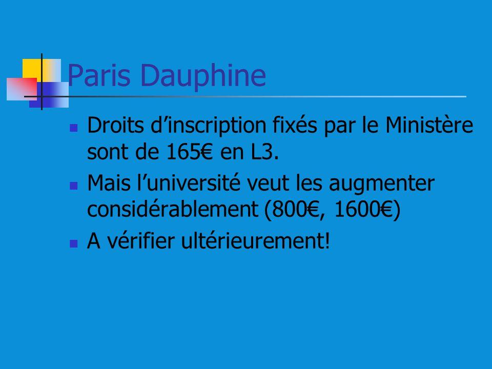 Paris Dauphine Droits dinscription fixés par le Ministère sont de 165 en L3. Mais luniversité veut les augmenter considérablement (800, 1600) A vérifi