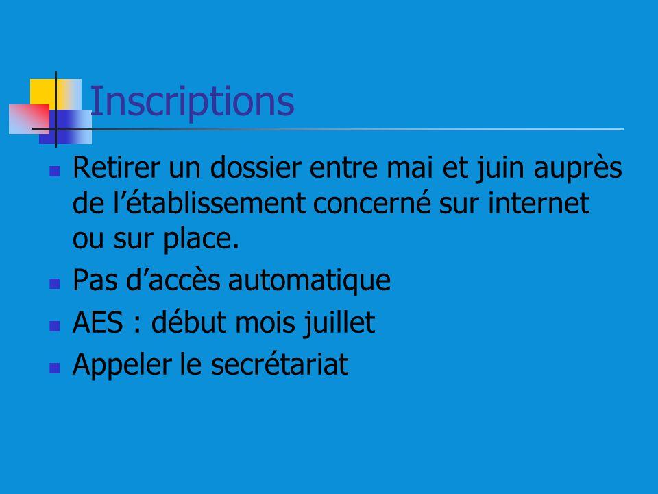Inscriptions Retirer un dossier entre mai et juin auprès de létablissement concerné sur internet ou sur place.