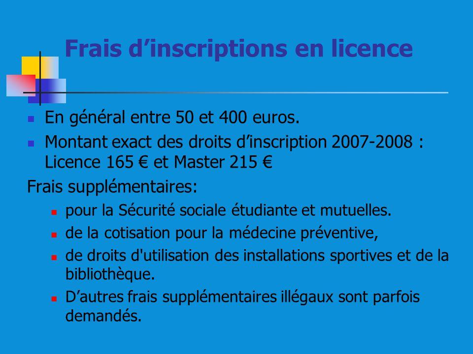 Frais dinscriptions en licence En général entre 50 et 400 euros. Montant exact des droits dinscription 2007-2008 : Licence 165 et Master 215 Frais sup