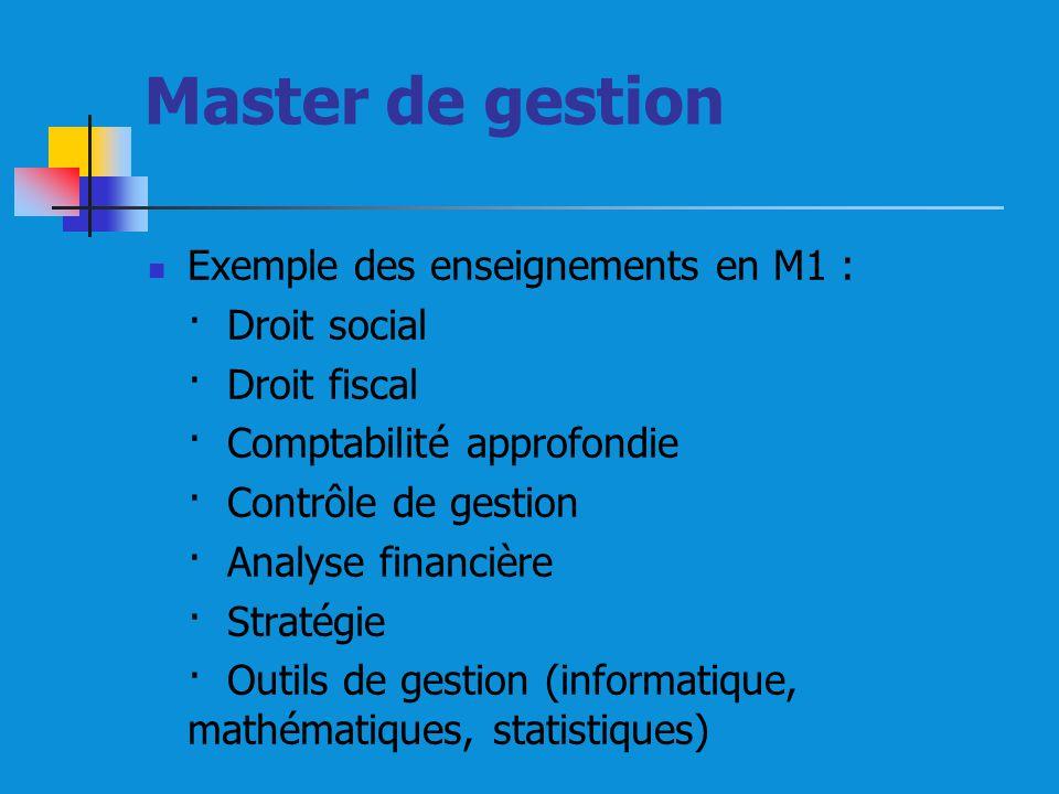 Master de gestion Exemple des enseignements en M1 : · Droit social · Droit fiscal · Comptabilité approfondie · Contrôle de gestion · Analyse financière · Stratégie · Outils de gestion (informatique, mathématiques, statistiques)