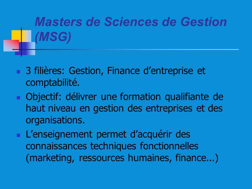 Masters de Sciences de Gestion (MSG) 3 filières: Gestion, Finance dentreprise et comptabilité. Objectif: délivrer une formation qualifiante de haut ni