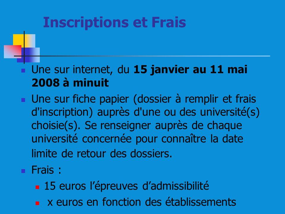 Inscriptions et Frais Une sur internet, du 15 janvier au 11 mai 2008 à minuit Une sur fiche papier (dossier à remplir et frais d inscription) auprès d une ou des université(s) choisie(s).