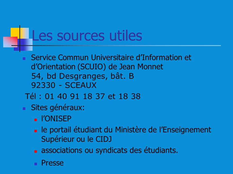 Les sources utiles Service Commun Universitaire dInformation et dOrientation (SCUIO) de Jean Monnet 54, bd Desgranges, bât. B 92330 - SCEAUX T é l : 0