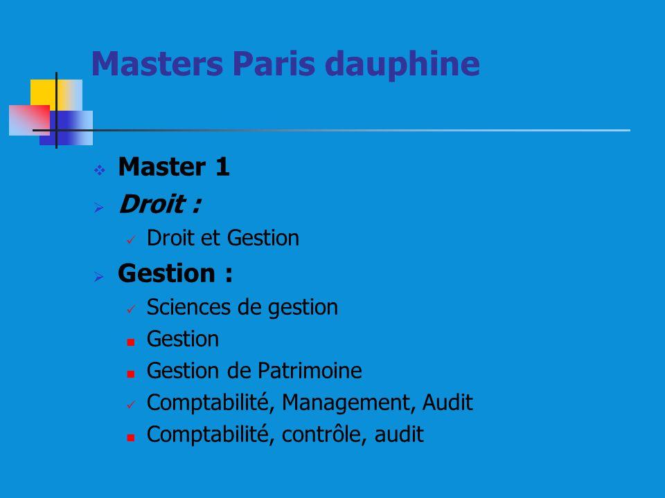 Masters Paris dauphine Master 1 Droit : Droit et Gestion Gestion : Sciences de gestion Gestion Gestion de Patrimoine Comptabilité, Management, Audit Comptabilité, contrôle, audit