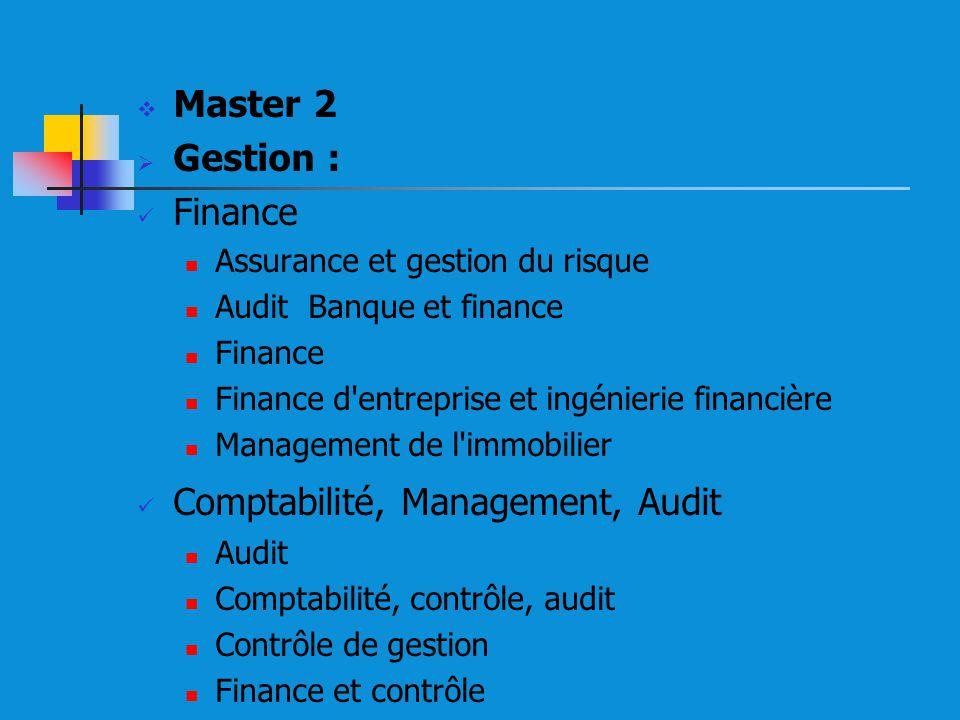 Master 2 Gestion : Finance Assurance et gestion du risque Audit Banque et finance Finance Finance d entreprise et ingénierie financière Management de l immobilier Comptabilité, Management, Audit Audit Comptabilité, contrôle, audit Contrôle de gestion Finance et contrôle