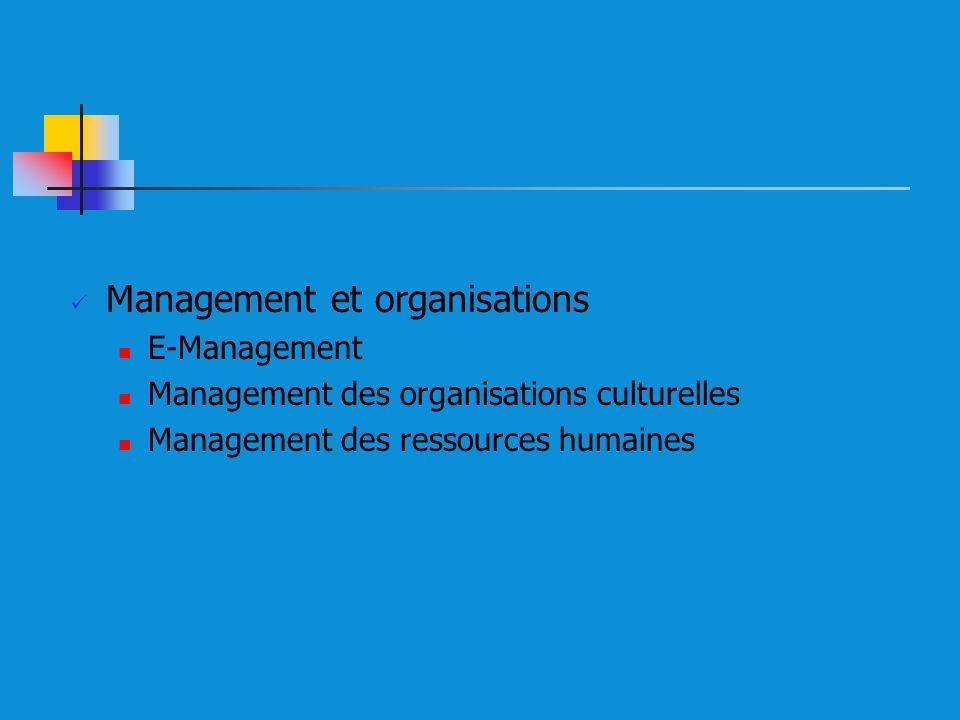 Management et organisations E-Management Management des organisations culturelles Management des ressources humaines