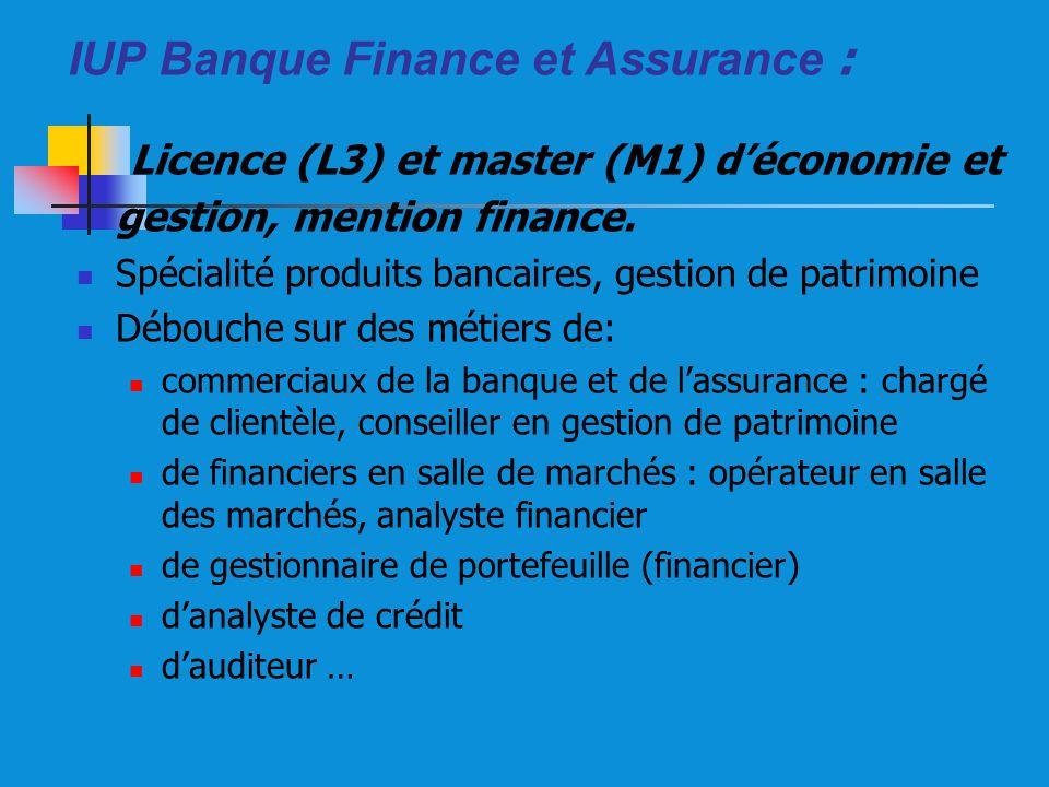 IUP Banque Finance et Assurance : Licence (L3) et master (M1) déconomie et gestion, mention finance. Spécialité produits bancaires, gestion de patrimo