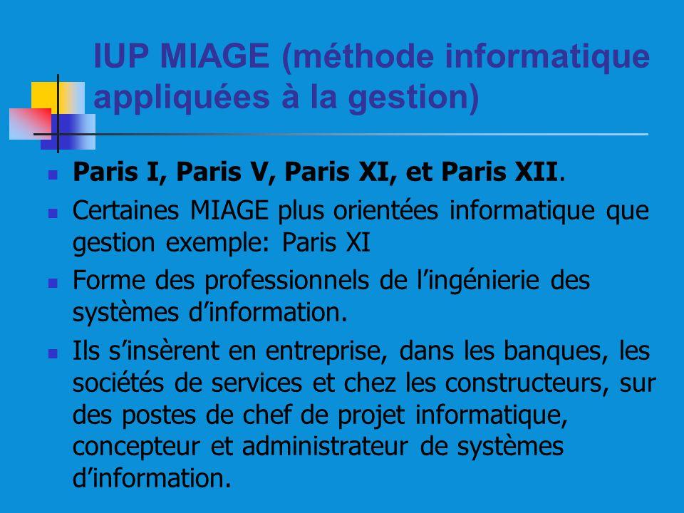 IUP MIAGE (méthode informatique appliquées à la gestion) Paris I, Paris V, Paris XI, et Paris XII. Certaines MIAGE plus orientées informatique que ges