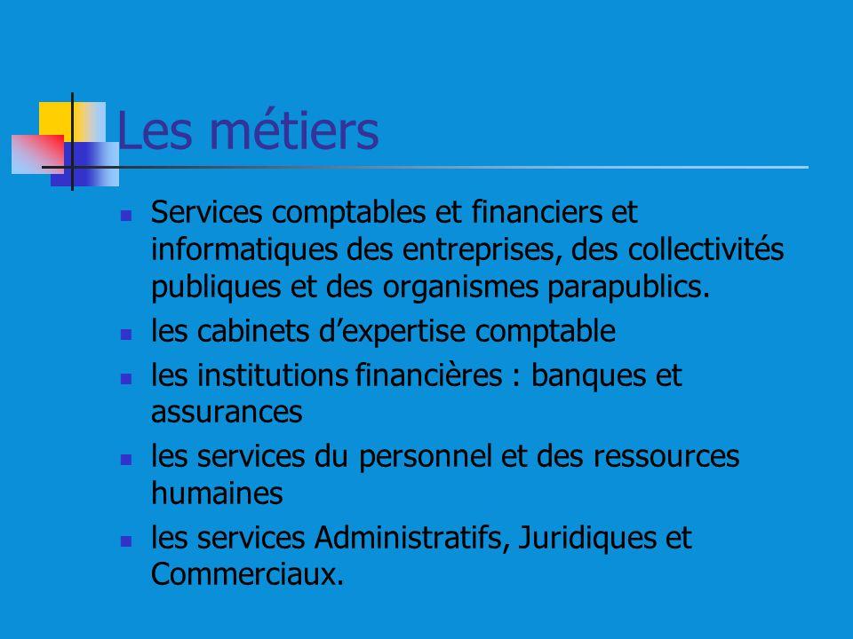Les métiers Services comptables et financiers et informatiques des entreprises, des collectivités publiques et des organismes parapublics. les cabinet