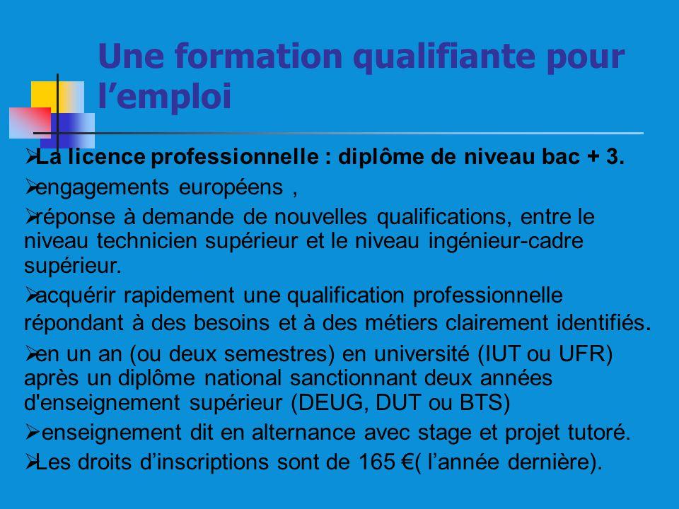 La licence professionnelle : diplôme de niveau bac + 3. engagements européens, réponse à demande de nouvelles qualifications, entre le niveau technici