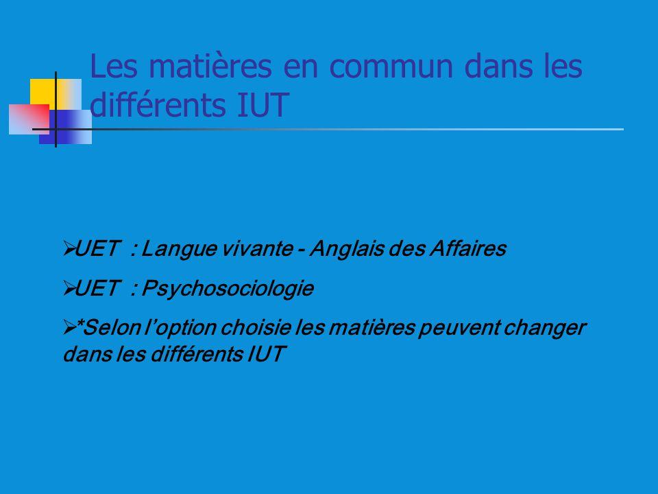Les matières en commun dans les différents IUT UET : Langue vivante - Anglais des Affaires UET : Psychosociologie *Selon loption choisie les matières peuvent changer dans les différents IUT