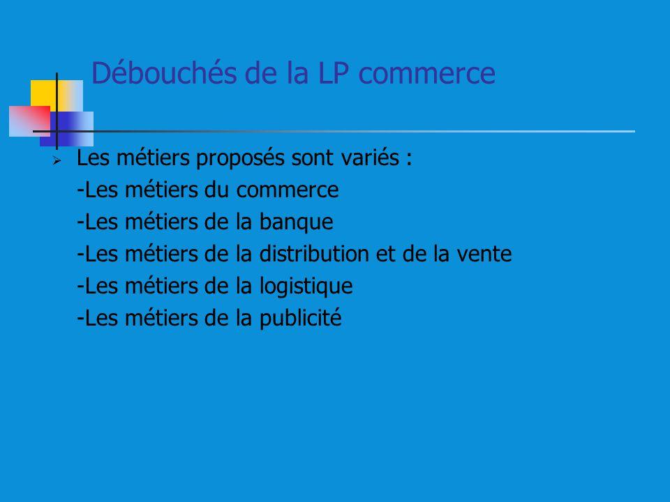 Débouchés de la LP commerce Les métiers proposés sont variés : -Les métiers du commerce -Les métiers de la banque -Les métiers de la distribution et de la vente -Les métiers de la logistique -Les métiers de la publicité