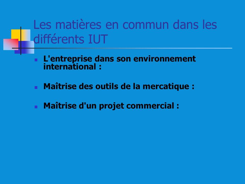 Les matières en commun dans les différents IUT L entreprise dans son environnement international : Maîtrise des outils de la mercatique : Maîtrise d un projet commercial :