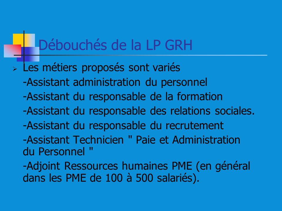 Débouchés de la LP GRH Les métiers proposés sont variés -Assistant administration du personnel -Assistant du responsable de la formation -Assistant du responsable des relations sociales.