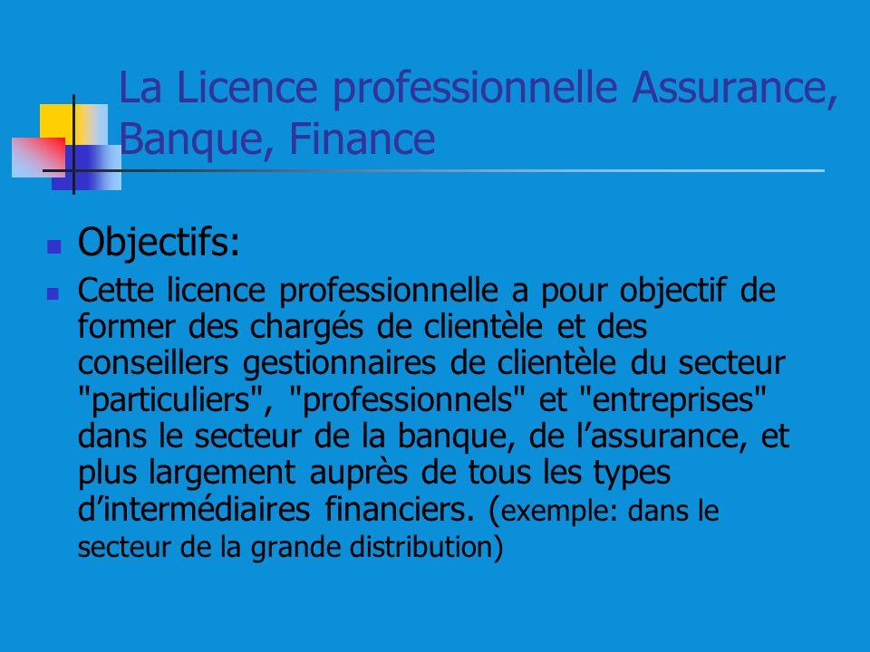 La Licence professionnelle Assurance, Banque, Finance Objectifs: Cette licence professionnelle a pour objectif de former des chargés de clientèle et des conseillers gestionnaires de clientèle du secteur particuliers , professionnels et entreprises dans le secteur de la banque, de lassurance, et plus largement auprès de tous les types dintermédiaires financiers.