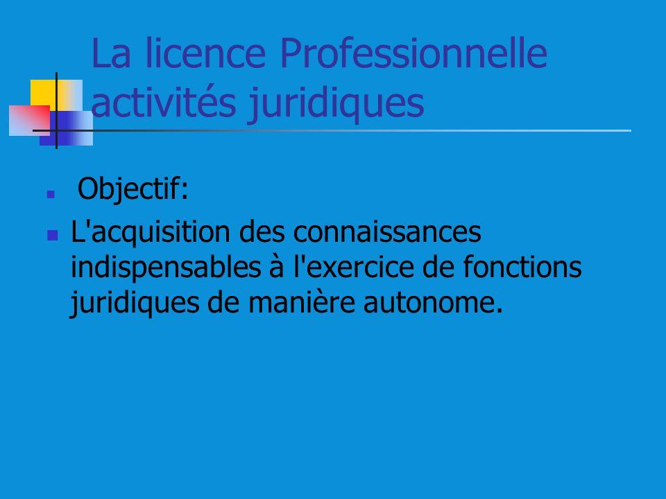 La licence Professionnelle activités juridiques Objectif: L'acquisition des connaissances indispensables à l'exercice de fonctions juridiques de maniè