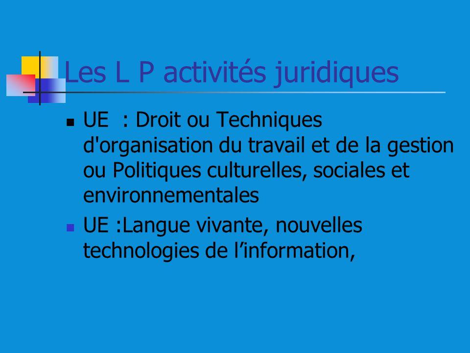 Les L P activités juridiques UE : Droit ou Techniques d organisation du travail et de la gestion ou Politiques culturelles, sociales et environnementales UE :Langue vivante, nouvelles technologies de linformation,