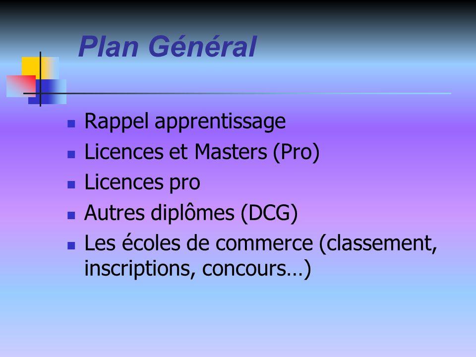 Plan Général Rappel apprentissage Licences et Masters (Pro) Licences pro Autres diplômes (DCG) Les écoles de commerce (classement, inscriptions, concours…)