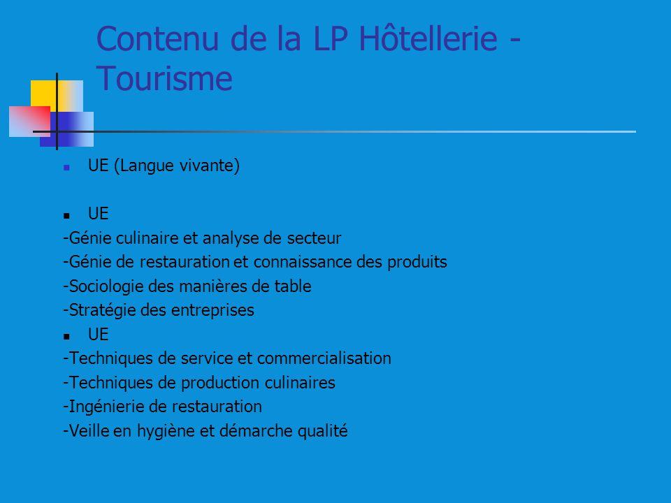 Contenu de la LP Hôtellerie - Tourisme UE (Langue vivante) UE -Génie culinaire et analyse de secteur -Génie de restauration et connaissance des produi